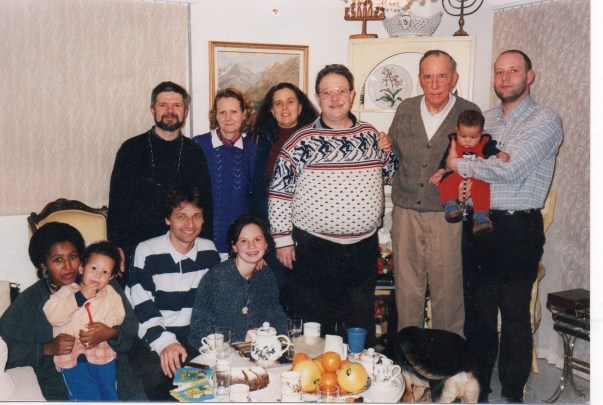 Our Homegrown, still at the Ben Haim residence, Senait with Daniel, , friends from Germany, Inge Buhs, Hanna and Eliyahu Ben Haim, Derek Prince and me with Naomi. Early 2000