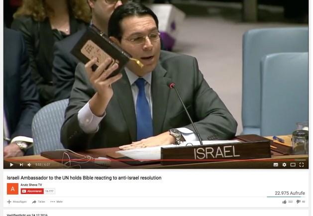 Danny Dalon am 23.12.2016 in der UN als Reaktion zur Resolution 2334 - Die Torah ist gültig.