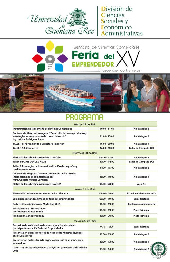 Programa I Semana de Sistemas Comerciales y XV Feria del Emprendedor 2016