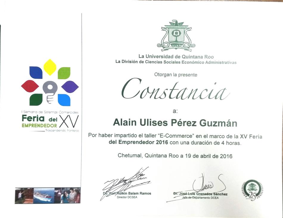Curso impartido en la universidad de Quintana Roo en la semana del emprendedor