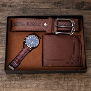 Men's Gift Set Beautifully Packaged Watch + Wallet Leather Belt Set Hot Selling Creative Combination Set Men Watches 2020 Luxury