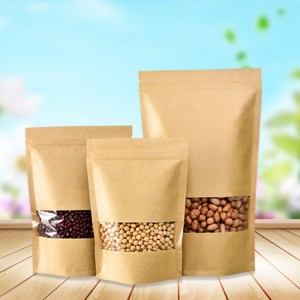 Best selling ziplock stand up kraft paper bag with window for food
