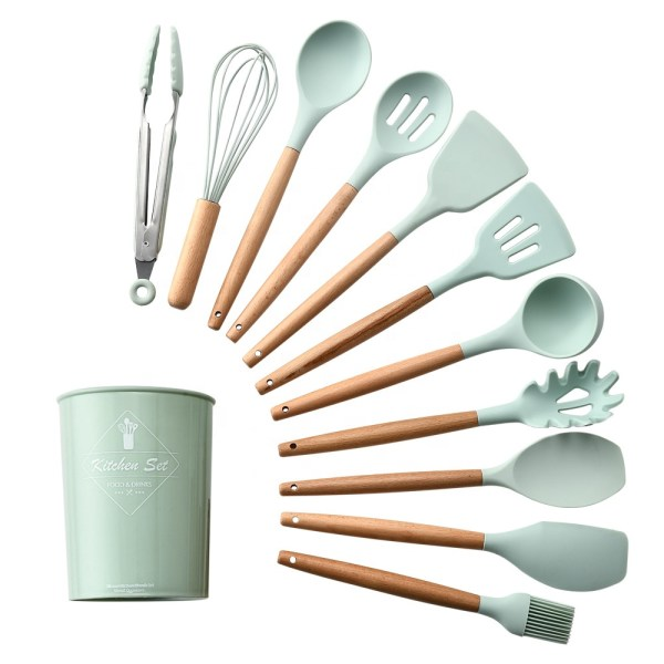 Low MOQ Hot sale 12PCS kitchen cooking utensil set silicone kitchenware tool set with bucket