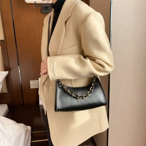 Simple Solid Shoulder Purse Fashion PU Leather Women Chain Crossbody Bags For Women 2021 New Fashion
