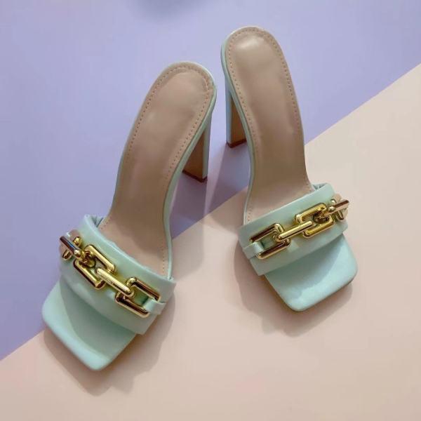 2021 Summer Elegant Women's Slippers Fashion New Metal Chain Decoration High Heels Mules Slides Pumps Square Toe Ladies Shoes