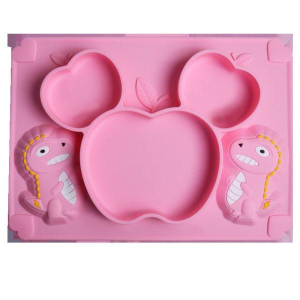 Baby Silicone Plate Dinosaur Cartoon Soft Spoon Feeding Training Utensils Children Silicone Tableware Set