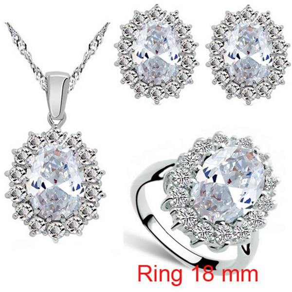 Fashion Blue Crystal Stone Wedding Jewelry Sets For Brides Silver Color Necklace Set For Women African Jewelry Sets & More