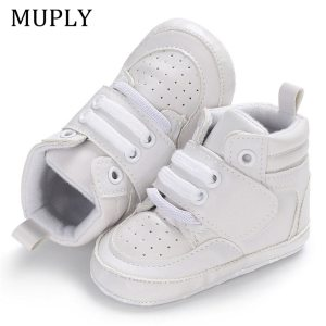 2020 New Arrival Newborn Baby Boy Girl Soft Sole Crib Shoes Keep Warm Boots Anti-slip Sneaker PU Solid First Walkers 0-18M