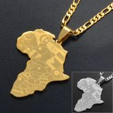 Anniyo Silver Color/Gold Color Africa Map With Flag Pendant Chain Necklaces African Maps Jewelry for Women Men #035321P