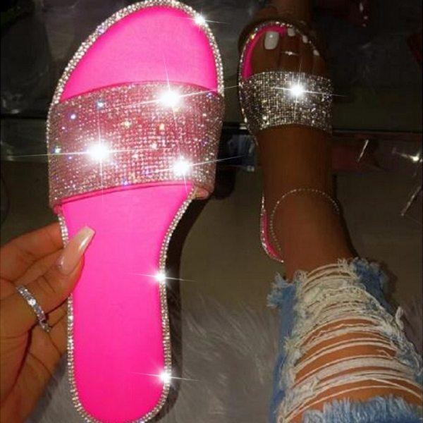 Black Glitter Slippers Women Summer Beach Sandals