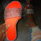 Orange Glitter Slippers Women Summer Beach Sandals