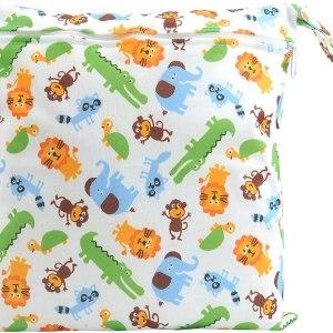 CHIC DIARY Wet Dry Bag Baby Nappy Organizer Bag Reusable Washable Cloth Diaper Bag (Animals1, 30cm*28cm)