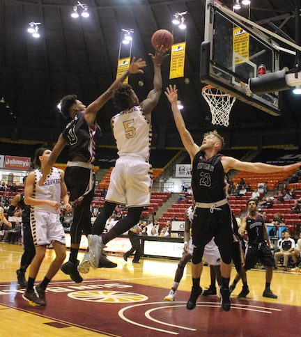Men's basketball jumps past Centenary in season opener