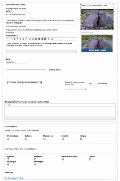 Les champs description, avec catégories, thématiques et tags