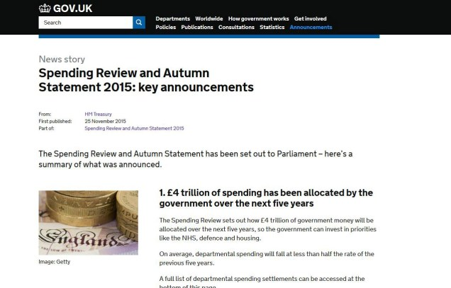 Screen shot of the Treasury website with details of the SPending Review 2015 on it