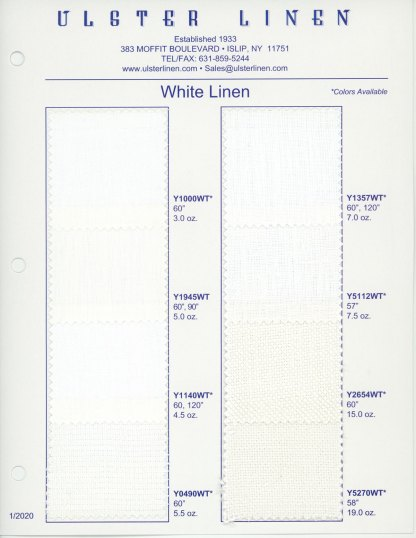 Swatch Card Range of White Linen Fabric
