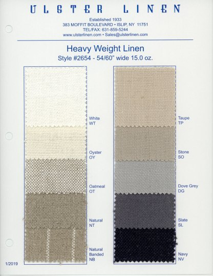 Y2654 Heavy Weight Linen Fabric Swatch Card