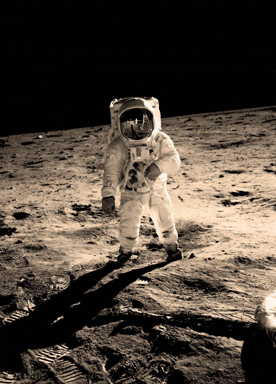 An astronaut on the moon