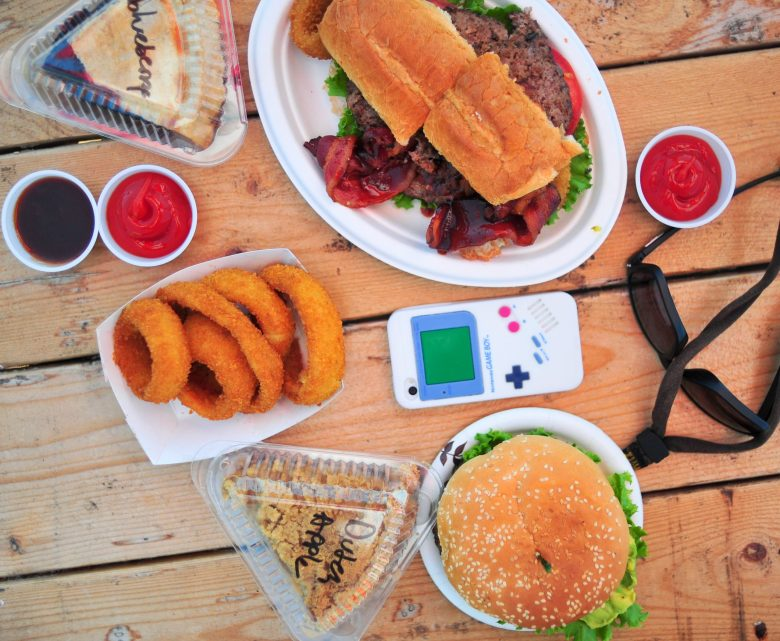 Burgers. Onion rings. Pie. Summer.