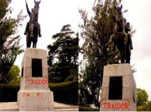 Denuncian ataque vandálico contra estatua del Libertador en España
