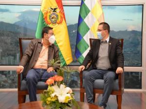 Canciller Arreaza y presidente Luis Arce sostienen reunión en Bolivia