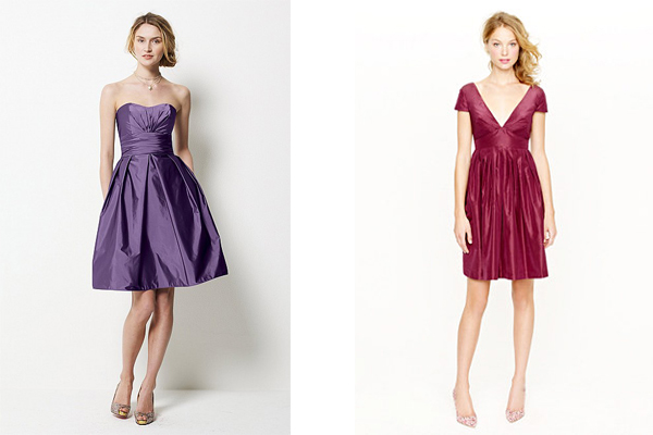 taffeta watters and jcrew bridesmaid dresses