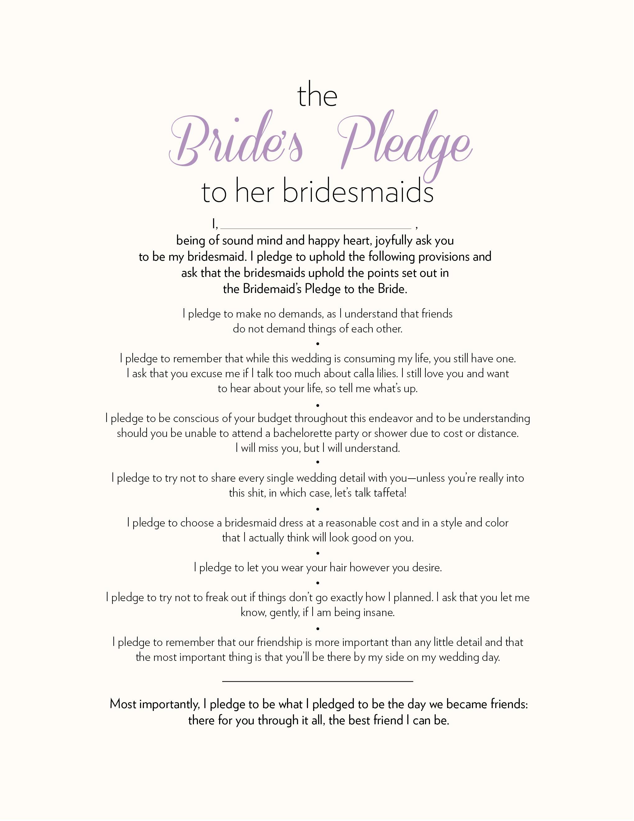 The Bride\'s Pledge to Her Bridesmaids - Ultimate Bridesmaid