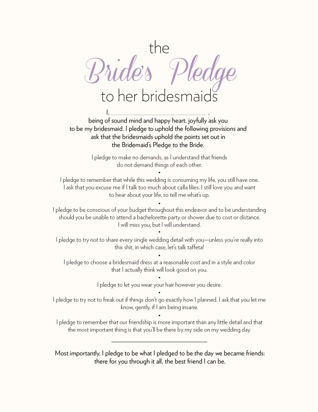 Will You Be My Bridesmaid idea: The Bride's Pledge to her Bridesmaids