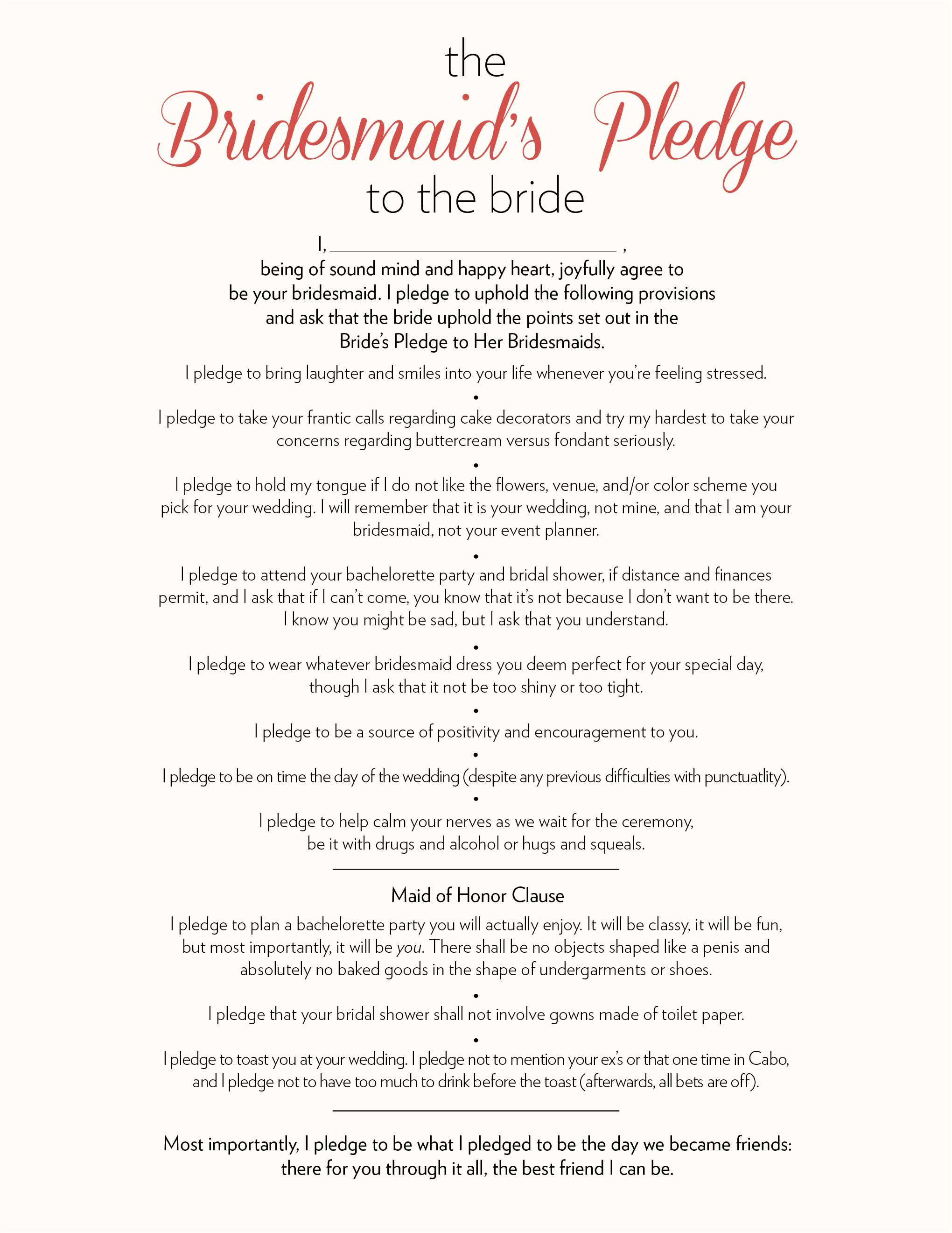 The bridesmaids pledge to the bride ultimate bridesmaid bridesmaids pledge to the bride m4hsunfo