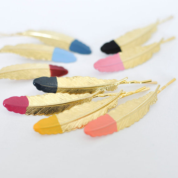 feather hair clips   Etsy Bridesmaid Gifts Under $30   Ultimate Bridesmaid