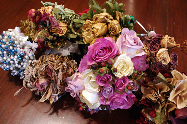 A dust-colleting collection of bouquets