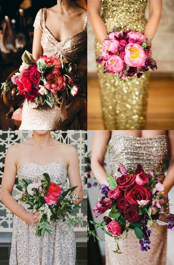 Frock + Flowers // Metallic dresses with deep red flowers