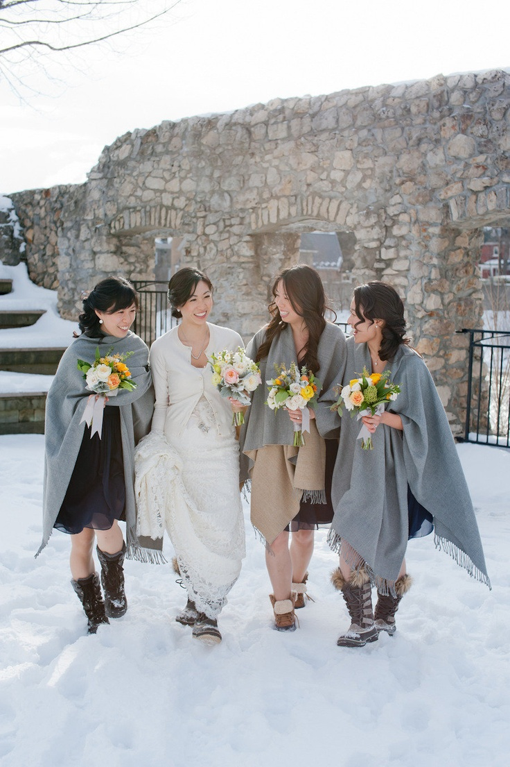 14 perfect winter bridesmaid looks ultimate bridesmaid for Winter shawls for wedding dresses