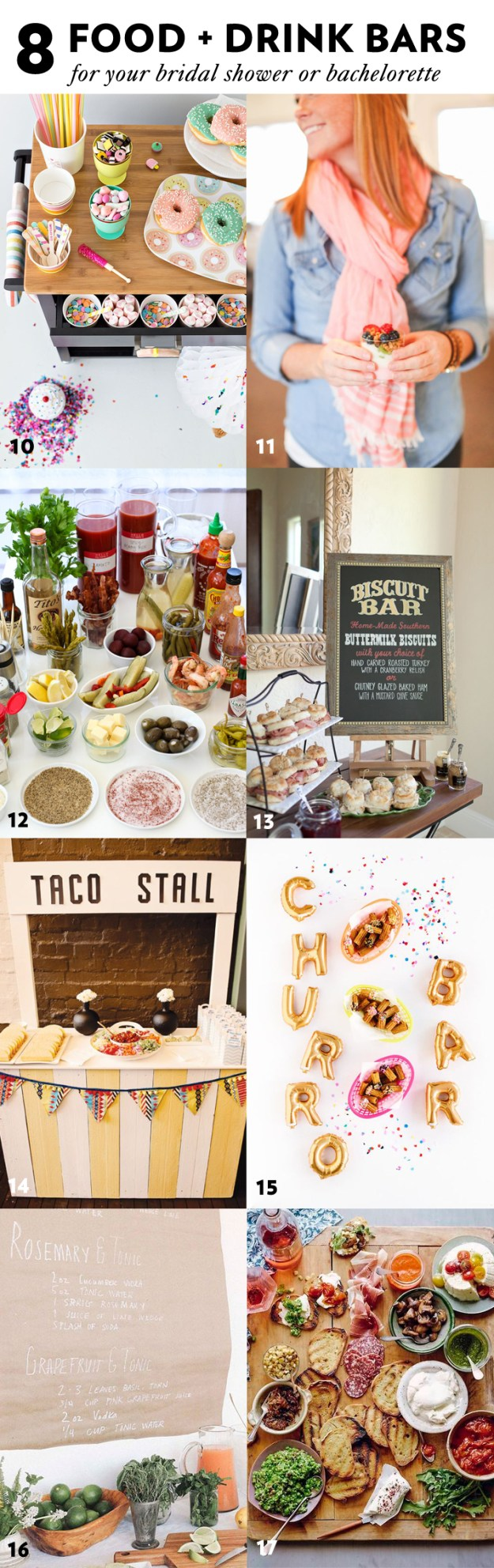 8 Food and Drink Bar Ideas For Your Bridal Shower & Bachelorette Party