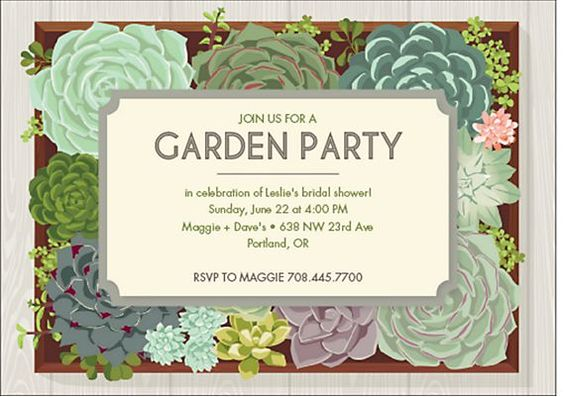 garden bridal shower invitation : succulent invite for a garden party