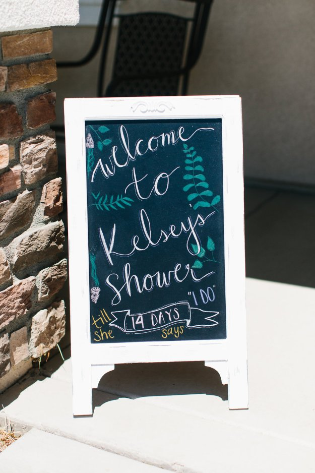 A Flower Crowns & Champagne Backyard Bridal Shower | Ultimate Bridesmaid | Dulcet Creative | Bridal shower welcome sign, days until she says i do