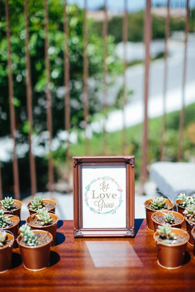 A Flower Crowns & Champagne Backyard Bridal Shower | Ultimate Bridesmaid | Dulcet Creative | Let love grow succulent bridal shower favors