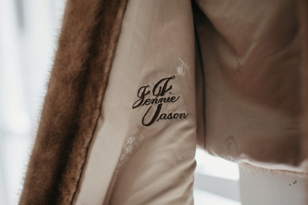 My grandmother's name embroidered in her vintage fur wrap, made for her by her brother | Our Northeast Charm Wedding in Maine | Ultimate Bridesmaid | Brett & Jessica Photography