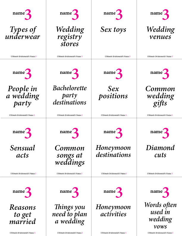 image about Printable Bachelorette Party Games named Printable Bachelorette Sport: Reputation 3 Top Bridesmaid