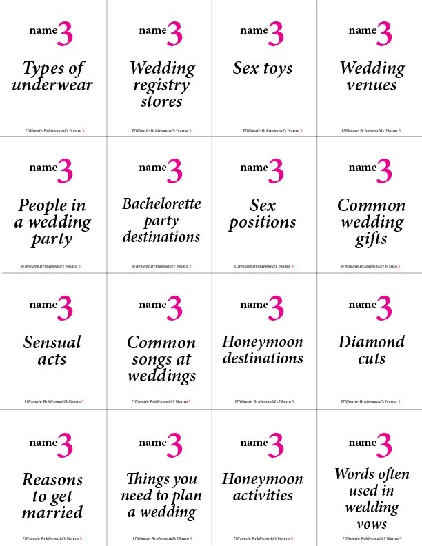 Printable Bachelorette Game: Name 3