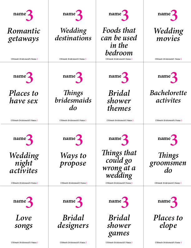 photo relating to Printable Bachelorette Games known as Printable Bachelorette Recreation: Standing 3 Greatest Bridesmaid