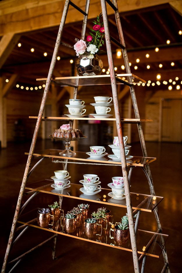 Teacup and mini succulent display. A Rustic Barn Bridal Shower in Oklahoma | Ultimate Bridesmaid | Alex Dugan Photography