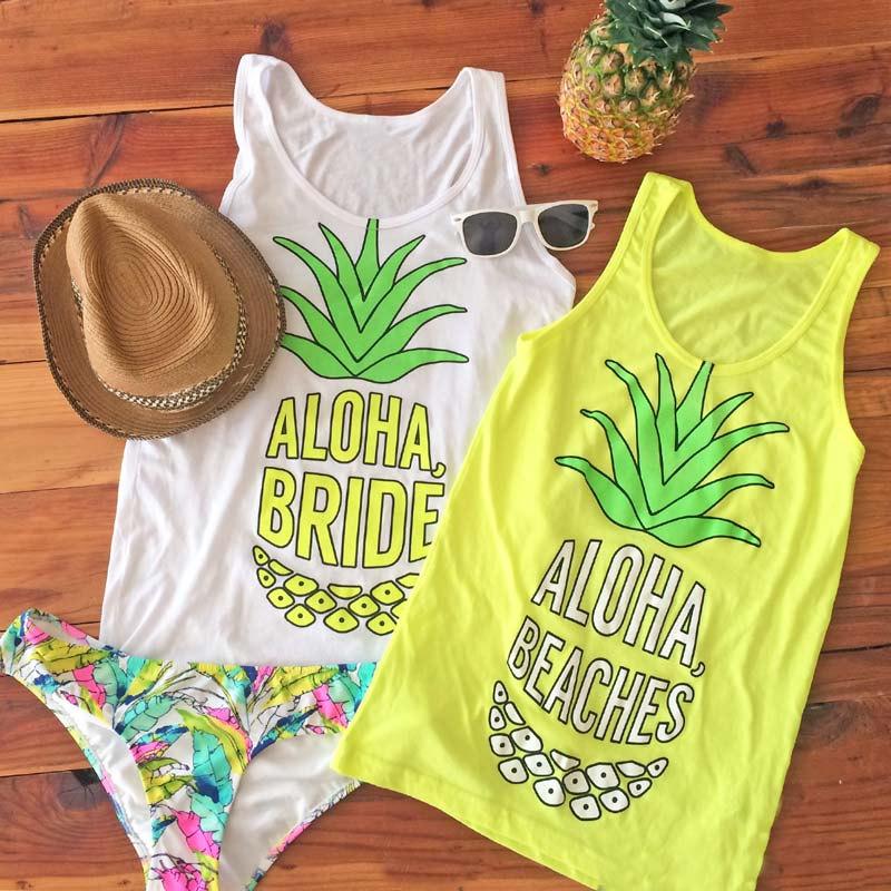Aloha Bride And Beaches Bachelorette Party Tanks