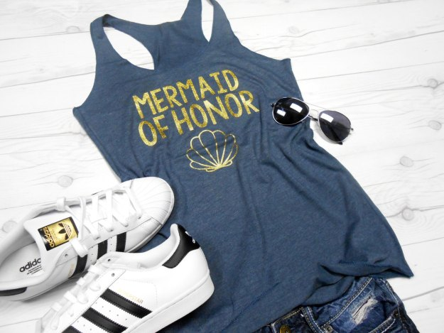 Mermaid of honor bachelorette party tanks