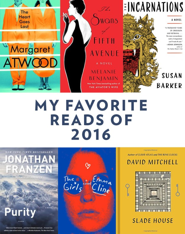 My Favorite Books of 2016: Find reviews of The Heart Goes Last, The Swans of Fifth Avenue, The Incarnations, Purity, The Girls, and Slade House.