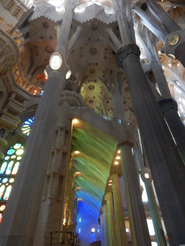 Light streaming through the stained glass at La Sagrada Familia in Barcelona. We started our 10-day honeymoon in Spain with three days in Barcelona. Click for our full itinerary and recommendations!