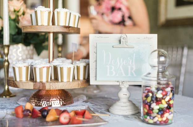 Bridal shower dessert bar. A Gold and Blush Bridal Shower | Ultimate Bridesmaid | Anne Molnar Photography
