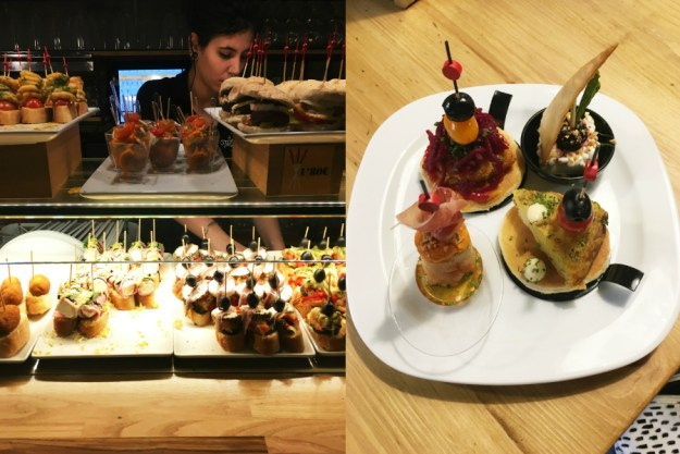 Pintxos on Calle Blai in the Poble Sec neighborhood of Barcelona. We started our 10-day honeymoon in Spain with three days in Barcelona. Click for our full itinerary and recommendations!