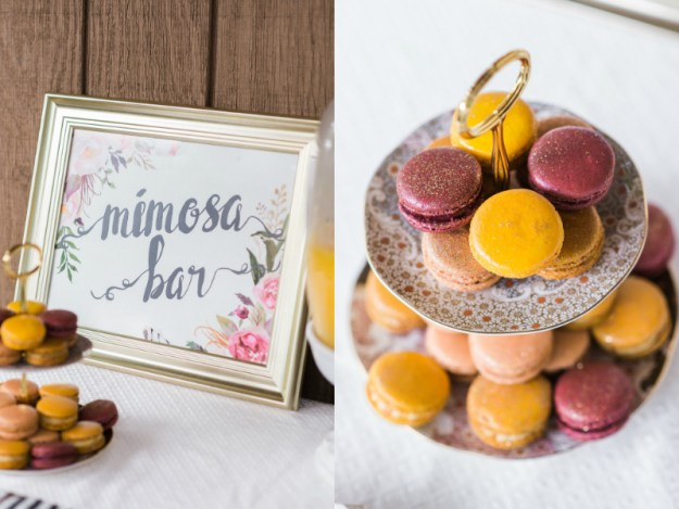 Macarons and mimosa bar. A Roses and Mimosas Bridal Shower Brunch | Ultimate Bridesmaid | Alisha Maria Photography