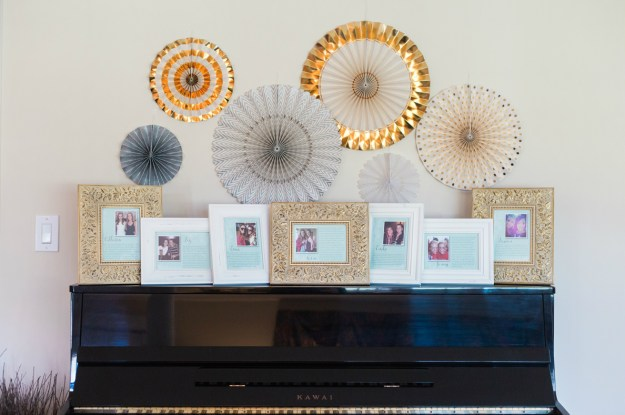 A display to get to know the bridesmaids at the bridal shower. A Gold and Blush Bridal Shower | Ultimate Bridesmaid | Anne Molnar Photography